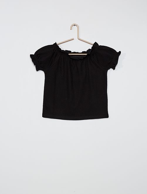 Camiseta crop bardot                                         negro