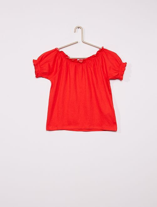 Camiseta crop bardot                                                                                         ROJO