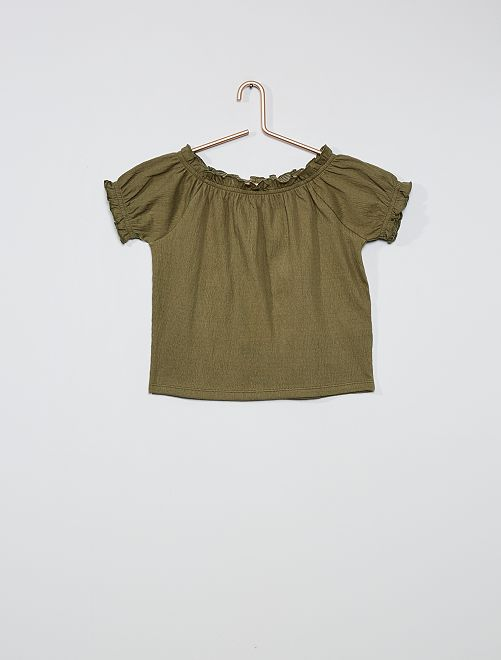 Camiseta crop bardot                                                                                                                 verde liquen