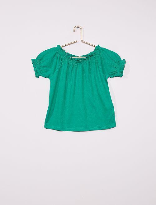 Camiseta crop bardot                                                                                                                 VERDE