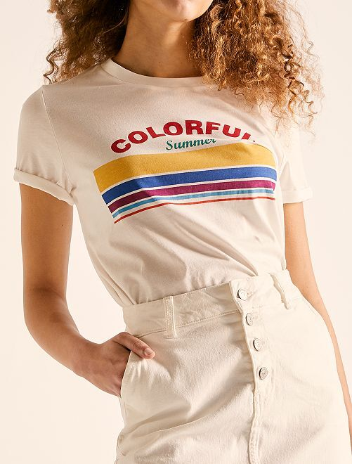 Camiseta cropped de algodón orgánico                                                                             BLANCO Mujer talla 34 a 48