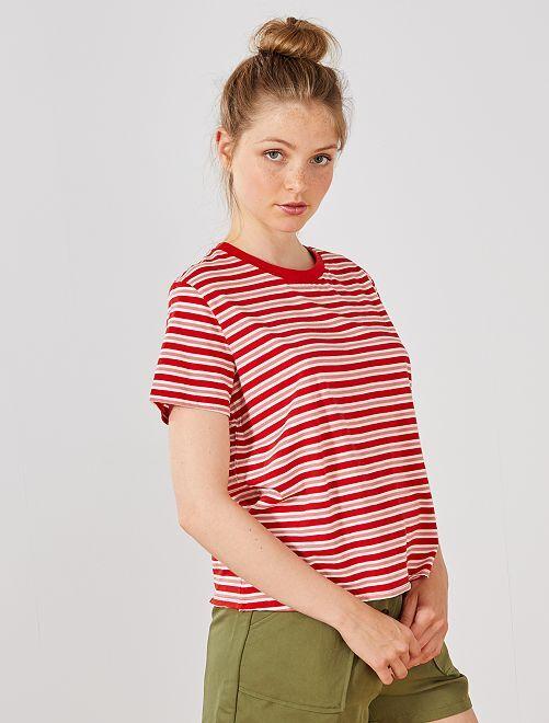 Camiseta cropped de algodón orgánico                                                     ROJO