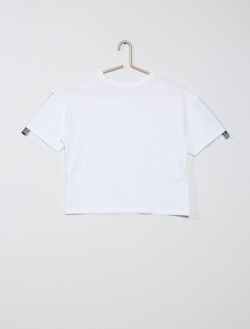 Camiseta cuadrada de algodón puro                                         blanco