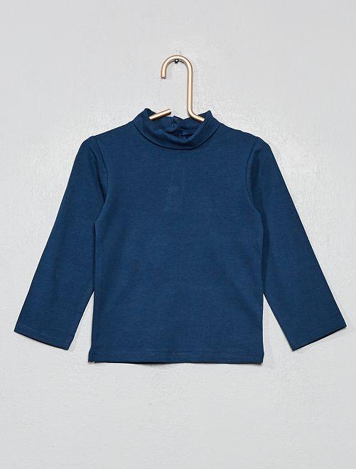 Camiseta cuello vuelto algodón orgánico                                                                 AZUL