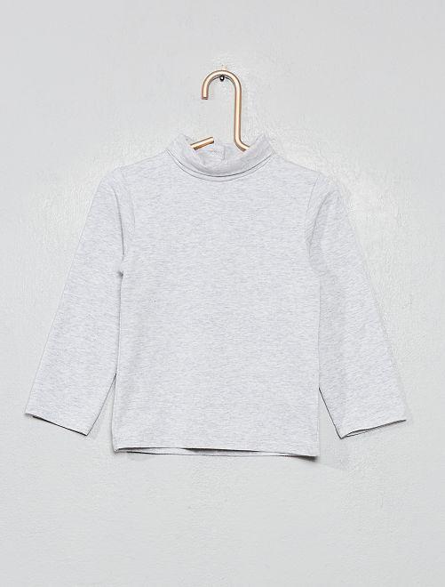 Camiseta cuello vuelto algodón orgánico                                                                 GRIS