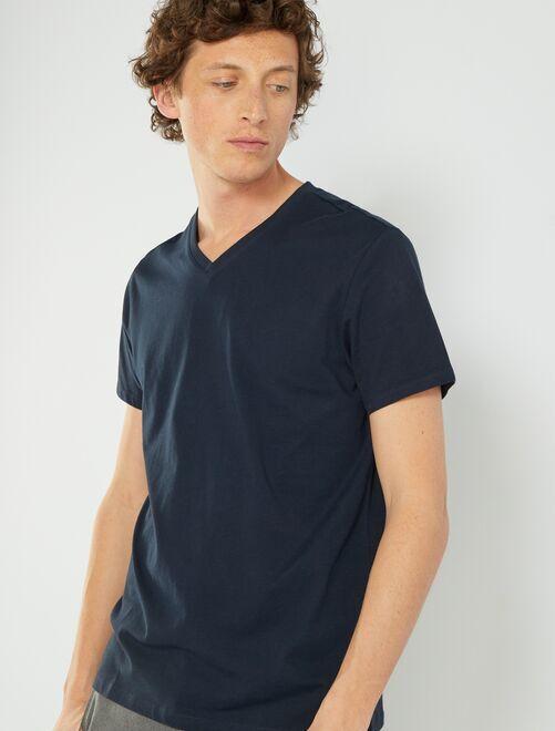 Camiseta de algodón con cuello de pico                                                                                                                             AZUL