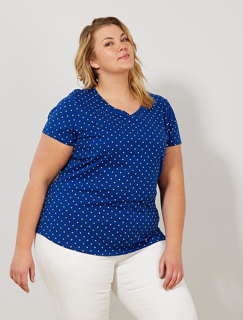 Camiseta de algodón con cuello de pico                                                                                         AZUL Tallas grandes mujer