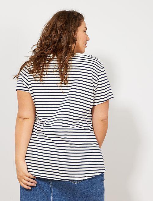 aac7b968a82b4 Camiseta de algodón con cuello de pico Tallas grandes mujer - BLANCO ...