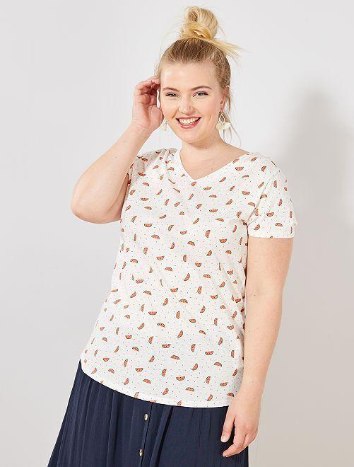 Camiseta de algodón con cuello de pico                                                                                                     BLANCO Tallas grandes mujer
