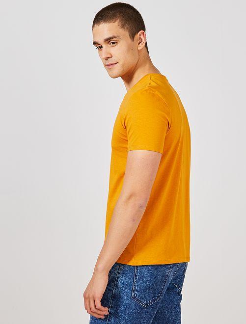 Algodón Camiseta De Cuello Regular Con Pico edBoQCxrW