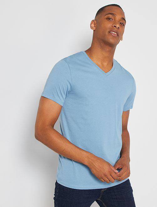 Camiseta de algodón con cuello de pico regular                                                                                                                 azul gris