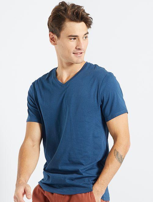 Camiseta de algodón con cuello de pico regular                                                                                                                                         AZUL