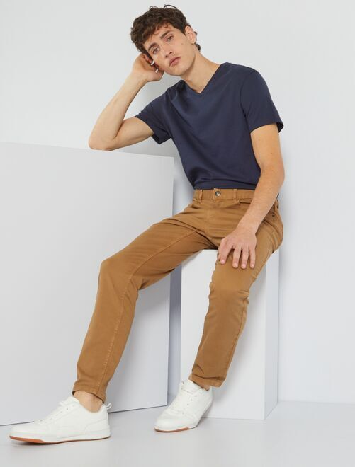 Camiseta de algodón con cuello de pico regular                                                                                                                             AZUL Hombre