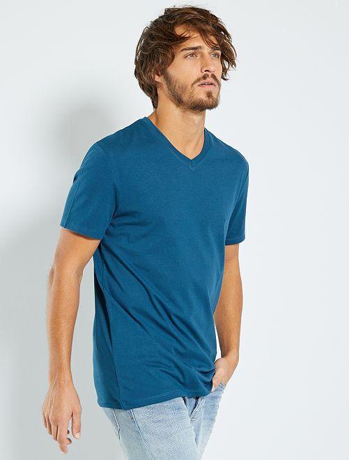 Camiseta de algodón con cuello de pico regular                                                                                                                 azul noche