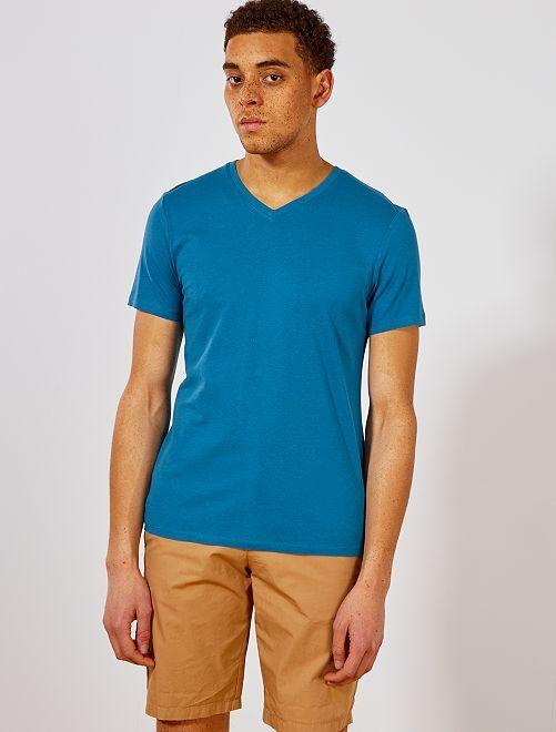 Camiseta de algodón con cuello de pico regular                                                                                                                                                     azul pato Hombre