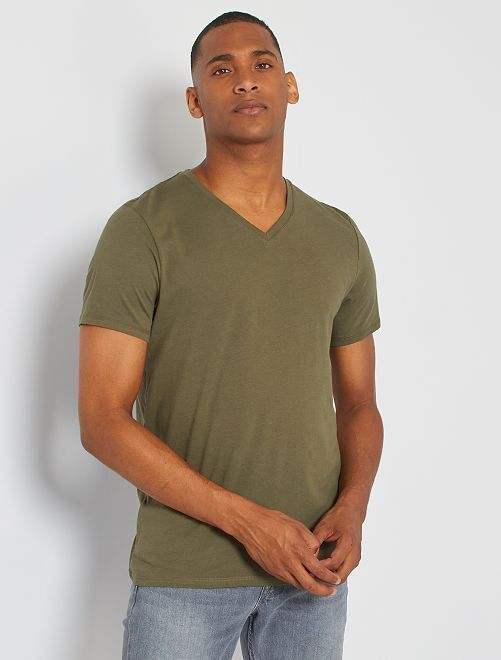 Camiseta de algodón con cuello de pico regular                                                                                                                                                                 KAKI