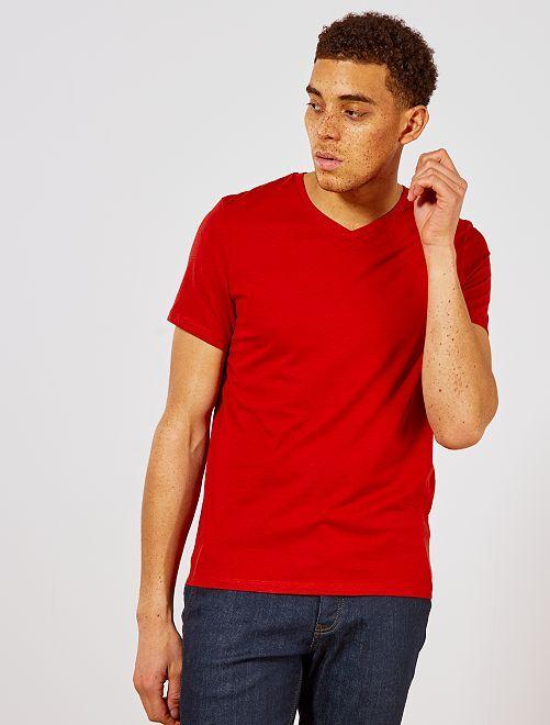 Camiseta de algodón con cuello de pico regular                                                                                                                             naranja ketchup Hombre
