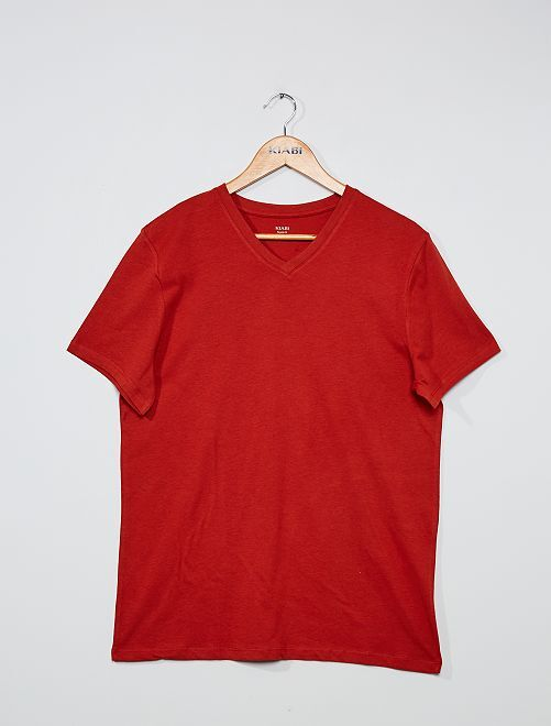 Camiseta de algodón con cuello de pico regular                                                                                                                             naranja oscuro