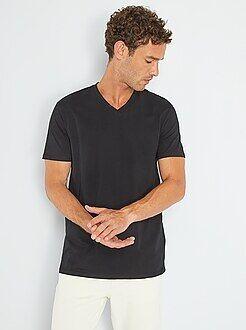 Camisetas básicas - Camiseta de algodón con cuello de pico regular - Kiabi
