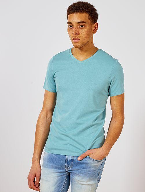 Camiseta de algodón con cuello de pico regular                                                                                                                                         verde gris Hombre
