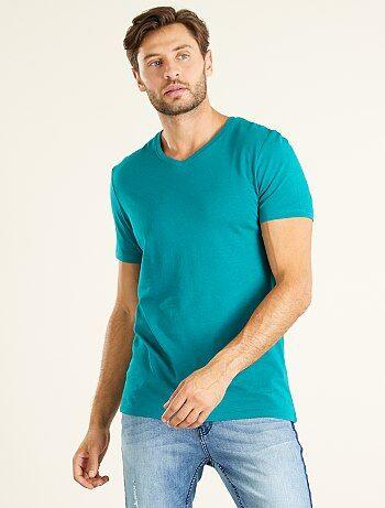 Camiseta de algodón con cuello de pico regular - Kiabi