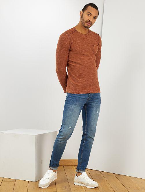 Camiseta de algodón con textura                             NARANJA