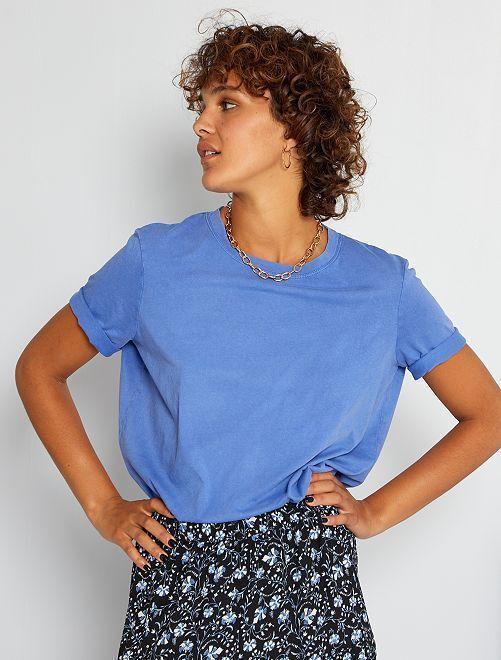 Camiseta de algodón descolorida                                                                 azul