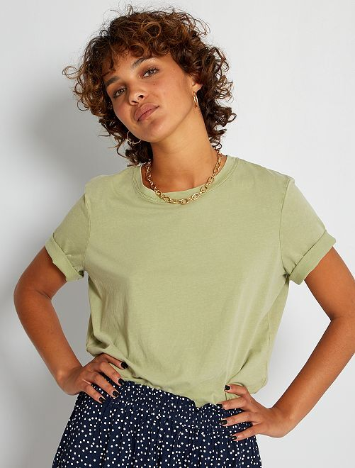 Camiseta de algodón descolorida                                                                 caqui claro