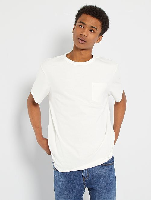 Camiseta de algodón eco-concepción                                                                                                                             blanco nieve