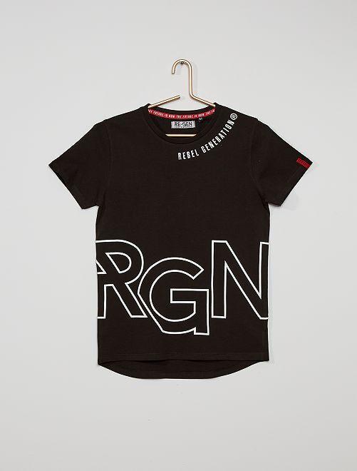 Camiseta de algodón estampada                             negro