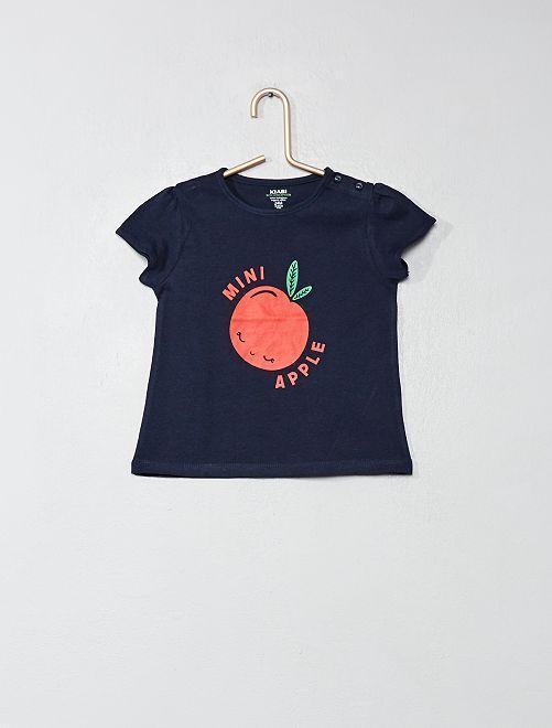 Camiseta de algodón orgánico                                                                                                                                                     AZUL Bebé niña