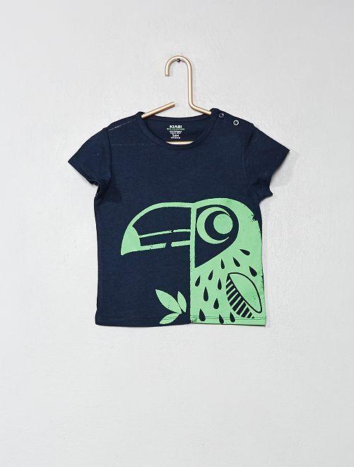 Camiseta de algodón orgánico                                                                                                                                                                 AZUL Bebé niño