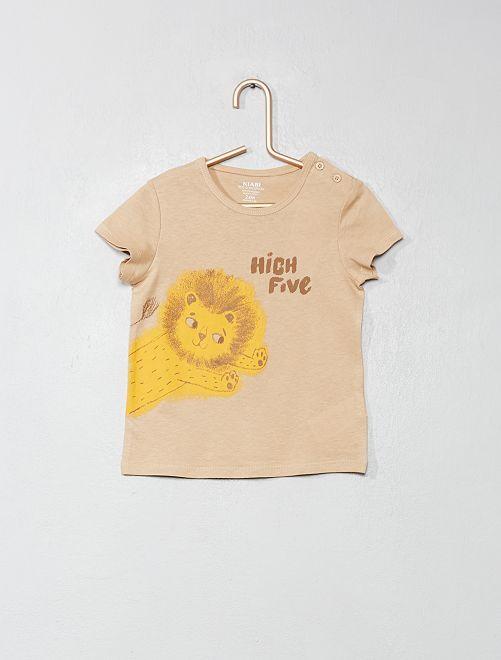 Camiseta de algodón orgánico                                                                                                                                                                 BEIGE Bebé niño