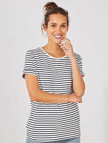 eeb8f4464 Mujer talla 34 a 48 - Camiseta de algodón orgánico - Kiabi