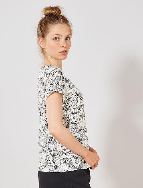 Camiseta de algodón orgánico                                                                                                                                                     BLANCO Mujer talla 34 a 48