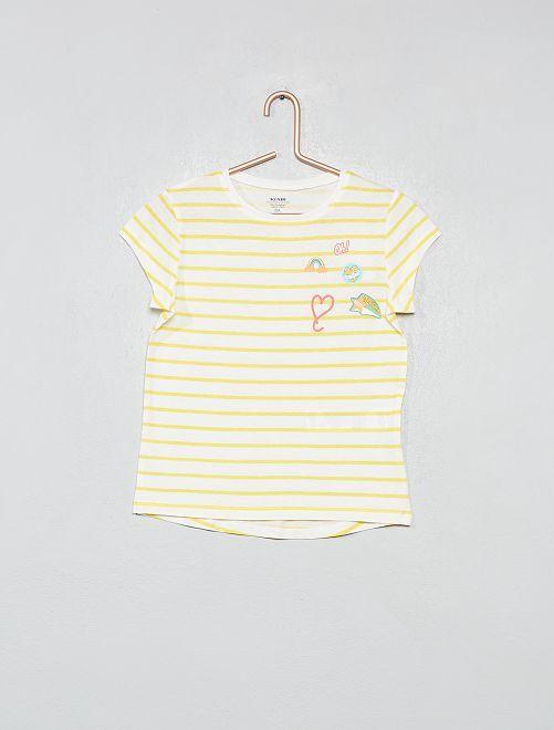 Camiseta de algodón orgánico brillante                     BLANCO Chica