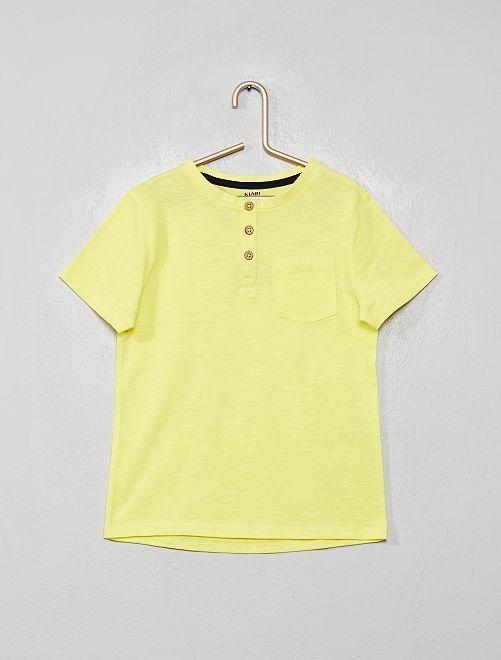 Camiseta de algodón orgánico con cuello panadero                                                                 amarillo