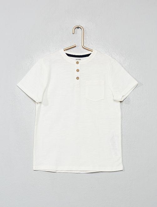 Camiseta de algodón orgánico con cuello panadero                                                                 blanco nieve