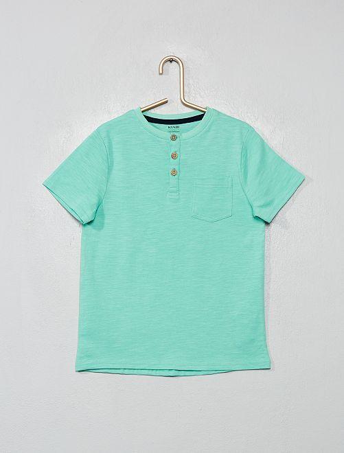 Camiseta de algodón orgánico con cuello panadero                                                                 VERDE