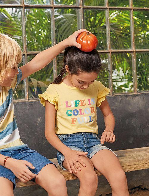 Camiseta de algodón orgánico con mensaje                                                                 AMARILLO Chica