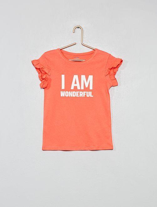 Camiseta de algodón orgánico con mensaje                                                     ROSA Chica