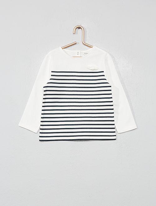Camiseta de algodón orgánico estampada                                                                 a rayas azul Bebé niña