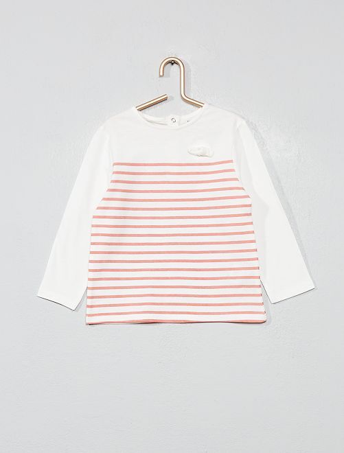 Camiseta de algodón orgánico estampada                                                                                         a rayas rosa