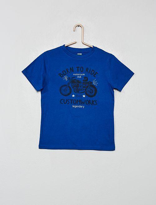 Camiseta de algodón orgánico estampada                                                                                                                                         AZUL