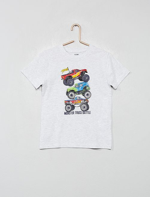 Camiseta de algodón orgánico estampada                                                                                                                                         GRIS