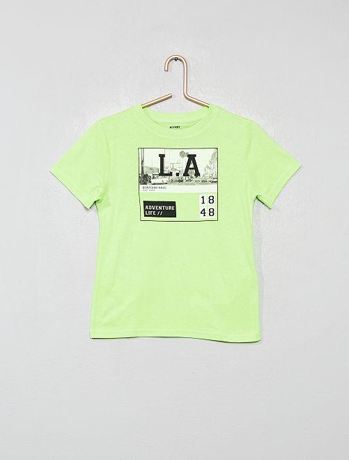 Camiseta de algodón orgánico estampada                                                                                                                                         VERDE