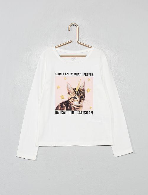 Camiseta de algodón orgánico fantasía                                                                                                                                         BEIGE