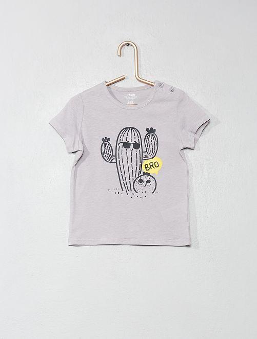 Camiseta de algodón orgánico                                                                                                                 GRIS Bebé niño
