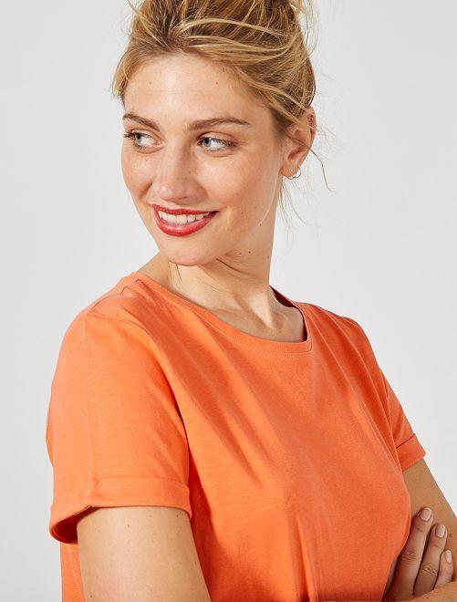 Camiseta de algodón orgánico                                                                                                                                                     naranja coral