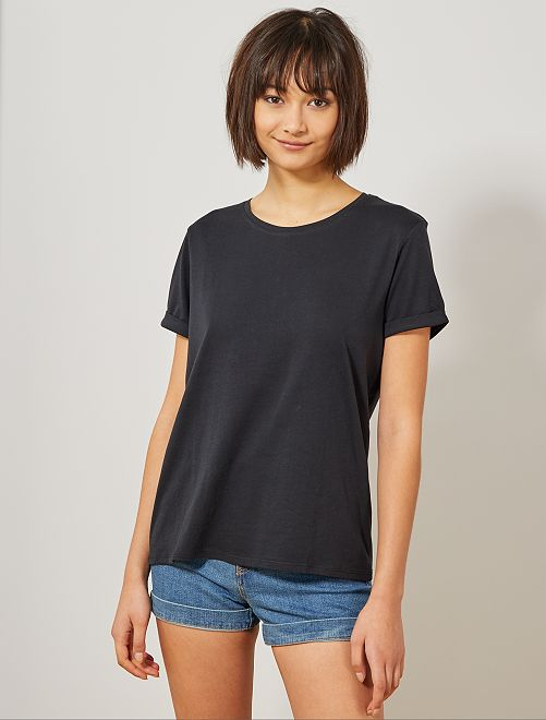 Camiseta de algodón orgánico                                                                                                                                                                 negro Mujer talla 34 a 48